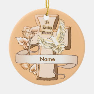 In Memory Cross Ceramic Ornament