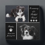 "In Memory Dog Photo Memorial Keepsake Plaque<br><div class=""desc"">Honor your beloved canine friend with this In Memory Dog Photo Memorial photo display plaque. This elegant pet tribute is printed in simple black and white tones. Photo templates let you upload 2 photographs of your beloved companion. Keep our sentiment which says In memory of a faithful friend, or replace...</div>"