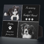 """In Memory Dog Tribute Pet Photo Memorial Keepsake Plaque<br><div class=""""desc"""">Memorial Dog Tribute: Honor your beloved canine friend with this In Memory Dog Tribute Photo Memorial photo display plaque. This elegant pet tribute is printed in simple black and white tones. Photo templates let you upload 2 photographs of your beloved companion. Keep our sentiment which says In memory of a...</div>"""