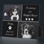 "In Memory Dog Tribute Pet Photo Memorial Plaque<br><div class=""desc"">Memorial Dog Tribute: Honor your beloved canine friend with this In Memory Dog Tribute Photo Memorial photo display plaque. This elegant pet tribute is printed in simple black and white tones. Photo templates let you upload 2 photographs of your beloved companion. Keep our sentiment which says In memory of a...</div>"