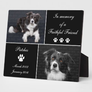 In Memory Dog Tribute Photo Memorial Plaque