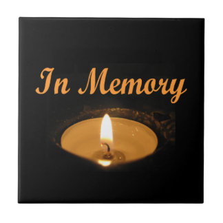 In Memory Glowing Candle Ceramic Tiles