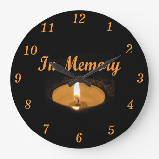 In Memory Glowing Candle Large Clock