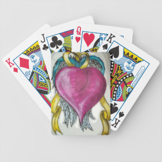 In memory heart bicycle playing cards