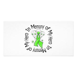 In Memory Hero Non-Hodgkin s Lymphoma Angel Wings Custom Photo Card