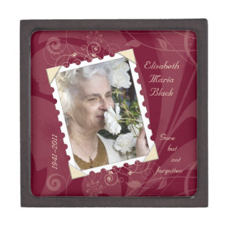 In Memory of Burgundy Floral Photo Gift Box