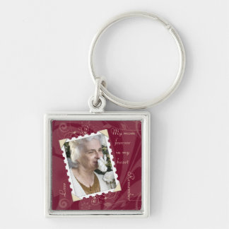 In Memory of Burgundy Photo Keychain