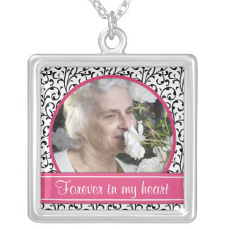 In Memory of Floral Pink Photo Necklace