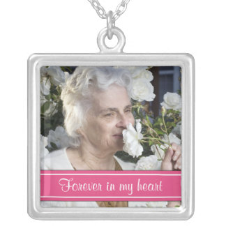 In Memory of Hot Pink Photo Necklace