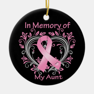 In Memory of My Aunt Breast Cancer Heart Ceramic Ornament