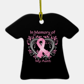 In Memory of My Aunt Breast Cancer Heart Double-Sided T-Shirt Ceramic Christmas Ornament