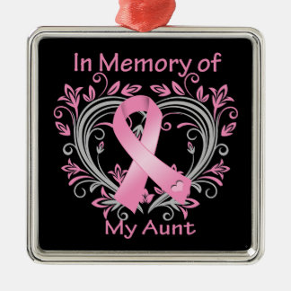 In Memory of My Aunt Breast Cancer Heart Square Metal Christmas Ornament