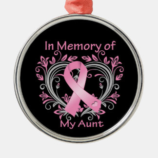 In Memory of My Aunt Breast Cancer Heart Round Metal Christmas Ornament