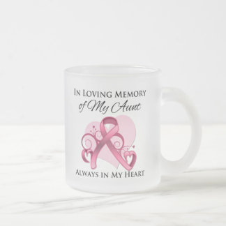 In Memory of My Aunt - Breast Cancer 10 Oz Frosted Glass Coffee Mug