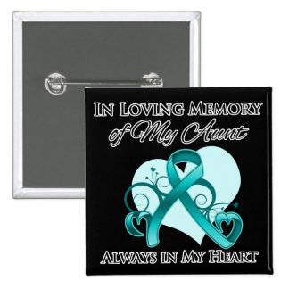 In Memory of My Aunt - Ovarian Cancer 2 Inch Square Button