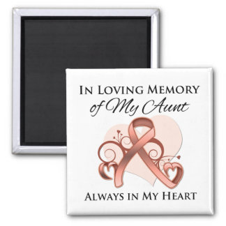 In Memory of My Aunt - Uterine Cancer 2 Inch Square Magnet