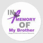 In Memory of My Brother Pancreatic Cancer Round Sticker
