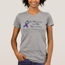 In Memory of My Brother Purple & Teal Ribbon T-Shirt