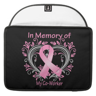In Memory of My Co-Worker Breast Cancer Heart Sleeve For MacBooks