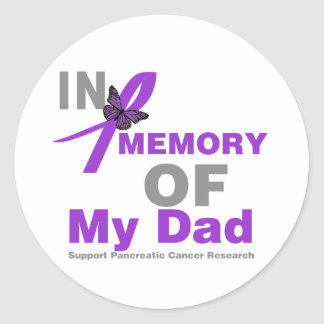 In Memory of My Dad Pancreatic Cancer Classic Round Sticker