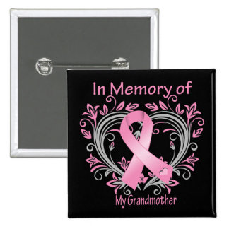 In Memory of My Grandmother Breast Cancer Heart Pinback Button