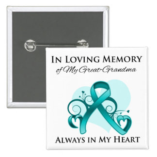 In Memory of My Great-Grandma - Ovarian Cancer 2 Inch Square Button