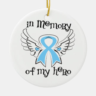 In Memory of My Hero Angel Wings Prostate Cancer Christmas Ornaments