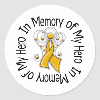 In Memory of My Hero Appendix Cancer Angel Wings Classic Round Sticker
