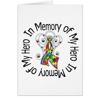 In Memory of My Hero Autism Angel Wings Greeting Cards