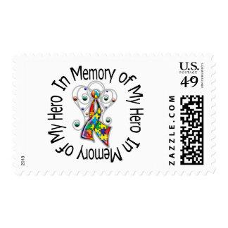 In Memory of My Hero Autism Angel Wings Postage Stamp