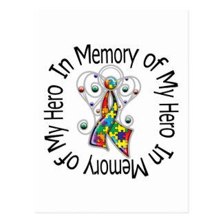 In Memory of My Hero Autism Angel Wings Post Card