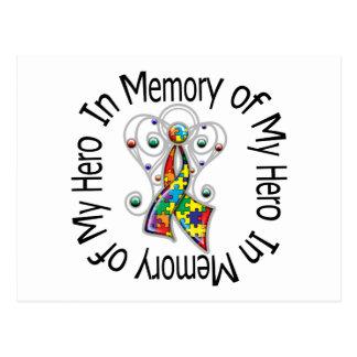 In Memory of My Hero Autism Angel Wings Post Cards