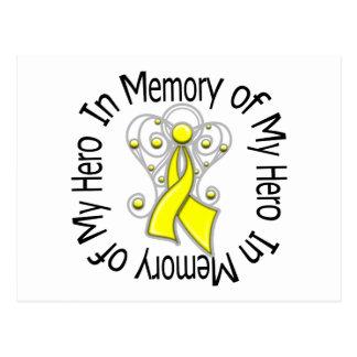 In Memory of My Hero Bladder Cancer Angel Wings v2 Postcard