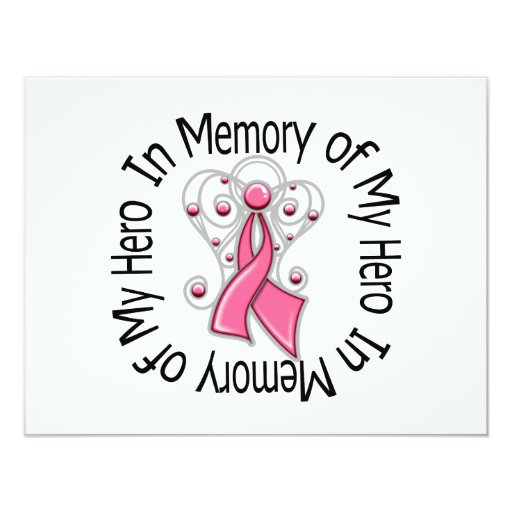 In Memory of My Hero Breast Cancer Angel Wings 4.25x5.5 Paper Invitation Card
