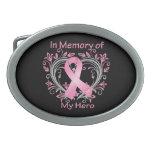 In Memory of My Hero Breast Cancer Heart Oval Belt Buckle