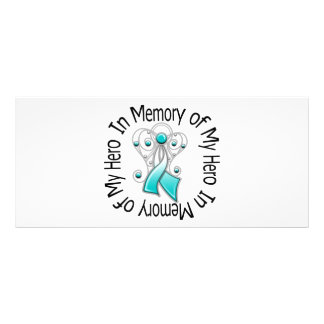 In Memory of My Hero Cervical Cancer Angel Wings Rack Card