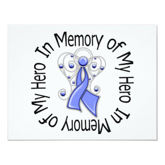 "In Memory of My Hero Esophageal Cancer Angel Wings 4.25"" X 5.5"" Invitation Card"