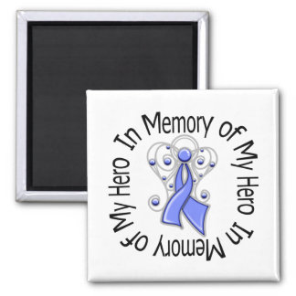 In Memory of My Hero Esophageal Cancer Angel Wings 2 Inch Square Magnet