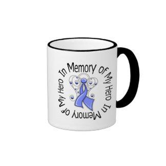 In Memory of My Hero Esophageal Cancer Angel Wings Ringer Coffee Mug