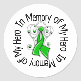 In Memory of My Hero Kidney Cancer Angel Wings Classic Round Sticker