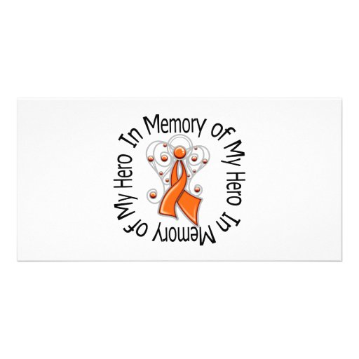 In Memory of My Hero Kidney Cancer Angel Wings v2 Photo Card