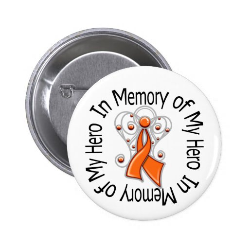 In Memory of My Hero Leukemia Angel Wings 2 Inch Round Button