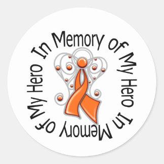 In Memory of My Hero Leukemia Angel Wings Classic Round Sticker