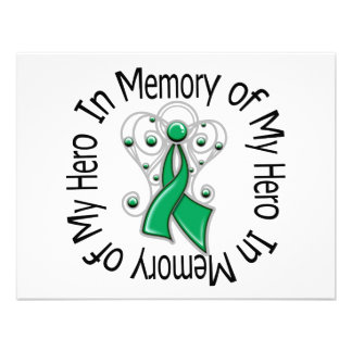 In Memory of My Hero Liver Cancer Angel Wings Personalized Invitations
