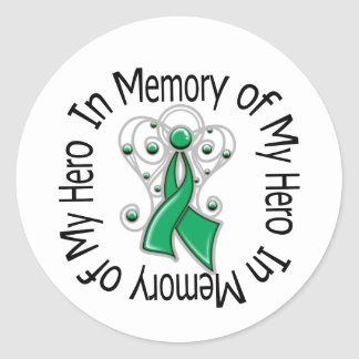 In Memory of My Hero Liver Cancer Angel Wings Classic Round Sticker