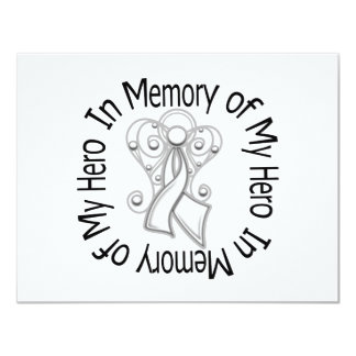 """In Memory of My Hero Lung Cancer Angel Wings 4.25"""" X 5.5"""" Invitation Card"""