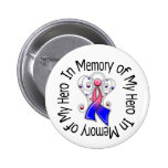 In Memory of My Hero Male Breast Cancer Angel Wing 2 Inch Round Button