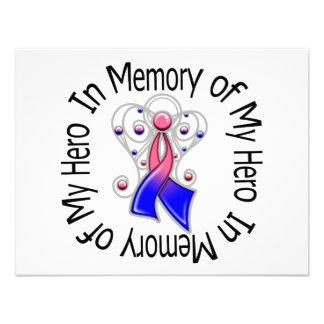 In Memory of My Hero Male Breast Cancer Angel Wing Custom Invitations
