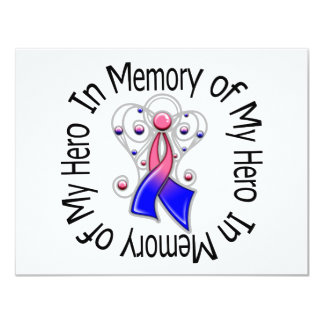 In Memory of My Hero Male Breast Cancer Angel Wing 4.25x5.5 Paper Invitation Card