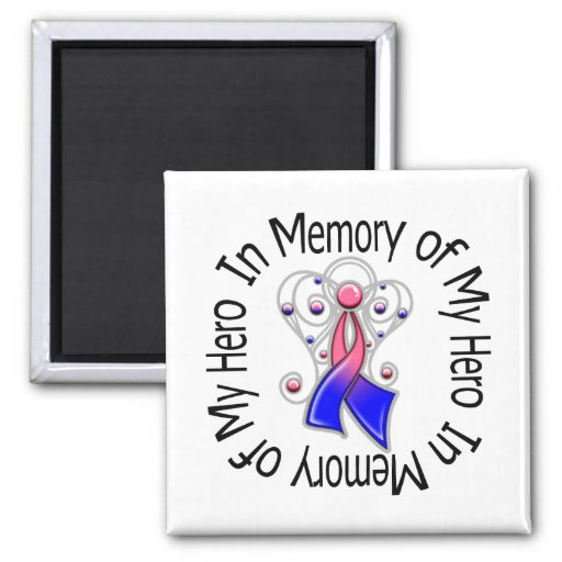 In Memory of My Hero Male Breast Cancer Angel Wing Refrigerator Magnets